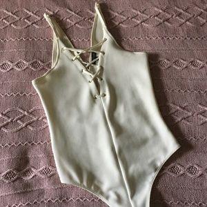 Express White Thong Bodysuit